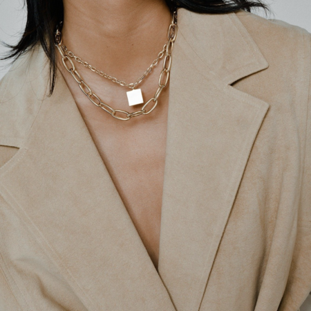 Young Frankk Square Chain Necklace - Gold Plated