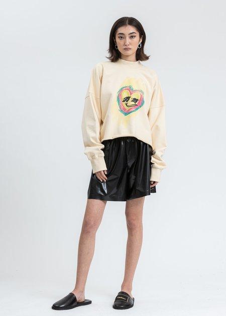 we11done Smiley Raw Edge Sweatshirt - Beige