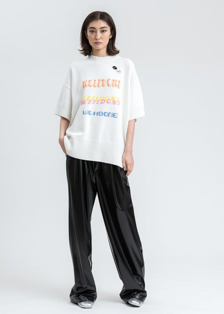 we11done Printed Short Sleeve Sweater - white