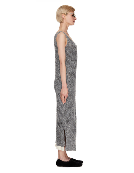Y's Grey Linen & Cotton Knitted Dress