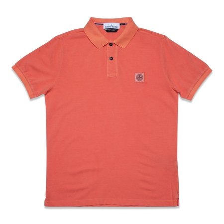 Stone Island Cotton Pique Garment+Pigment Dye Polo Shirt - Orange Red