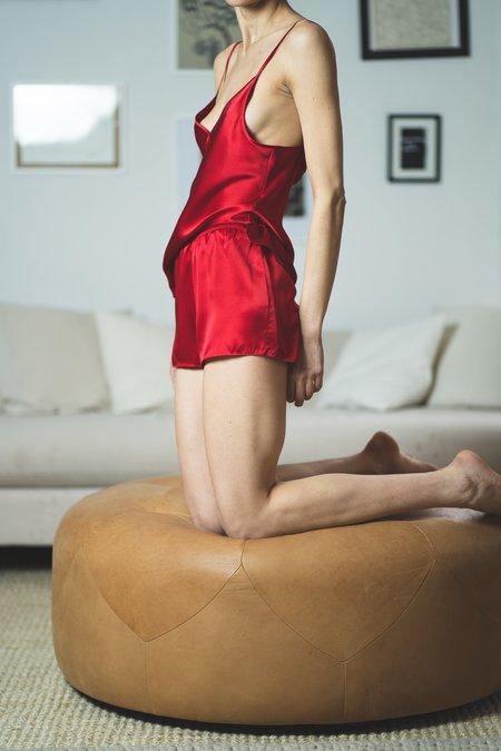 KES After Hours Silk Slip Shorts - Scarlet
