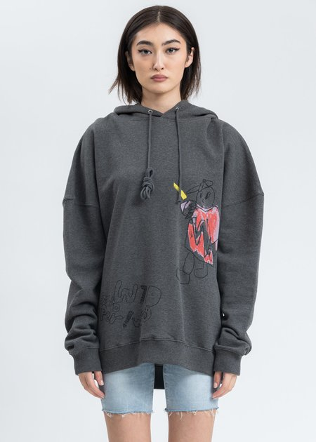 we11done WD Graffiti Version 2 Hoodie - Charcoal