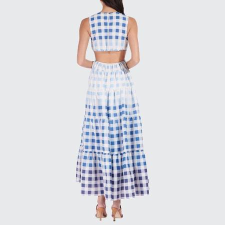 Staud Gingham Rivera Dress - Blue Ombre