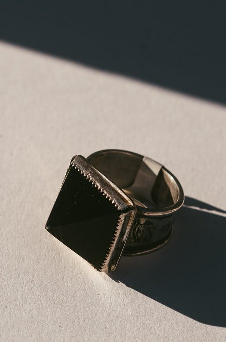 Morgaine Faye Obsidian Pyramid Wadjet Ring