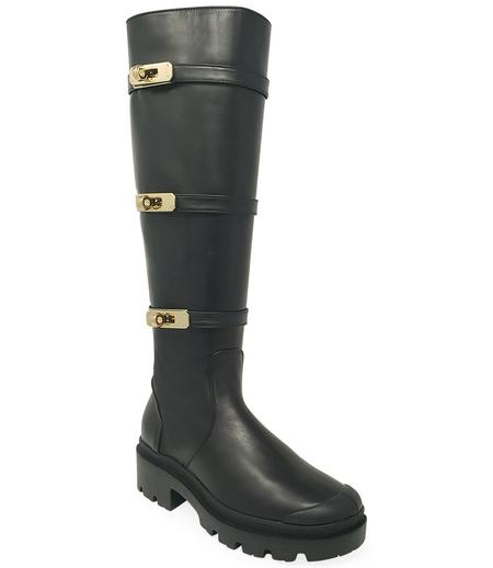 Madison Maison By Palladium Leather Knee High Buckle Boot - Black
