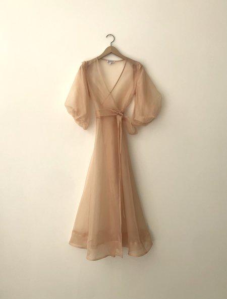 Kamperett Loretta Silk Organza Midi Dress - Blush