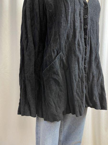 [pre-loved] Eileen Fisher Black Brushed Velvet Jacket - Black