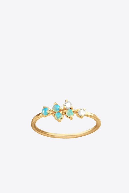 Wwake Inc. Mirrored Points Opal and Diamond Ring