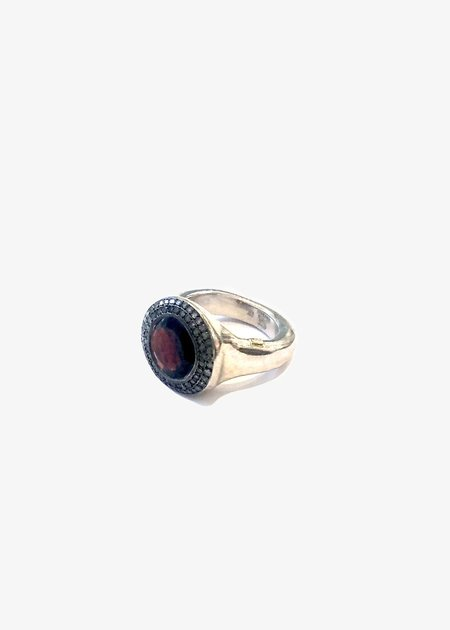 Rosa Maria Sterling Silver Grace Ring With Grey Diamonds and Garnet