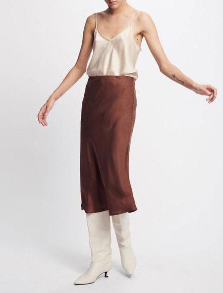 Silk Laundry Bias Cut Skirt - brown