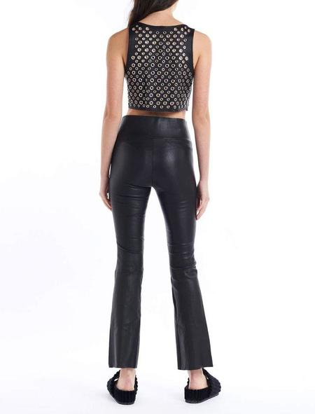 SPRWMN Ankle Flare Leather Pant - Black