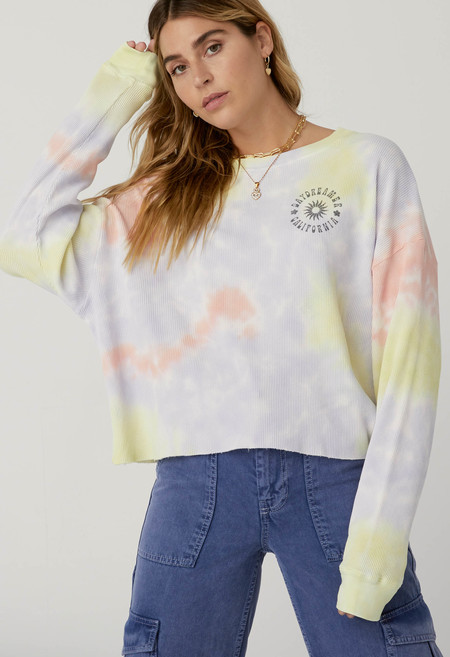 Daydreamer Sun Cropped Thermal top - Blossom Tie Dye