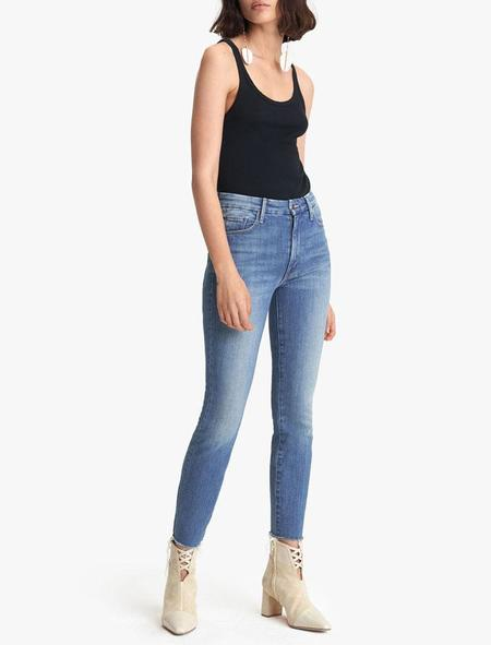 Mother Denim High Waisted Looker Ankle Fray - Wander Dust