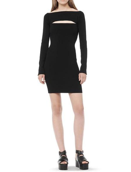 T By Alexander Wang Long Sleeve Bandeau Dress - black