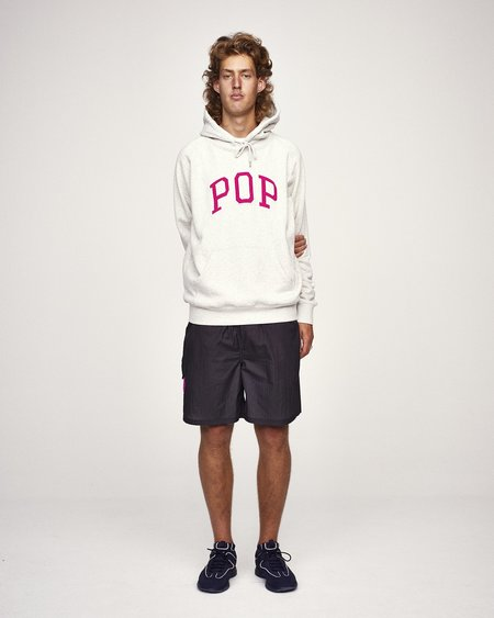 Pop Trading Company Arch Hooded Sweat - Off-White/Heather