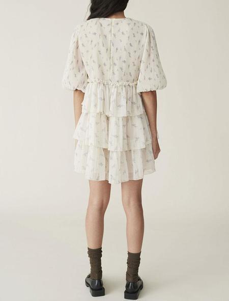 Ganni Pleated Georgette Mini Dress - Egret