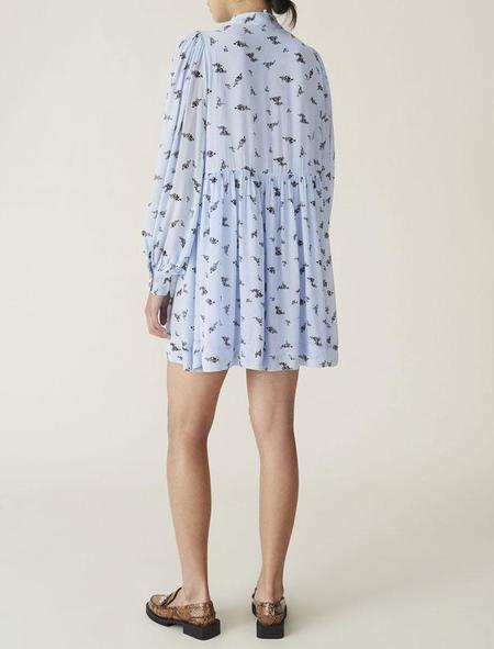 Ganni Printed Georgette Mini Dress - Brunnera Blue