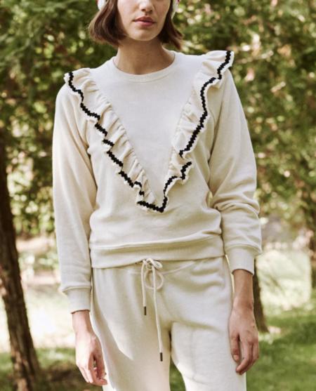 The Great. The Shrunken Ruffle Sweatshirt - Washed White