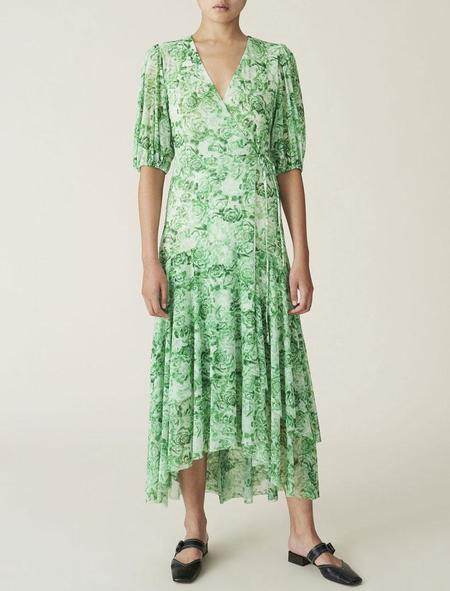 Ganni Wrap Dress - Island Green