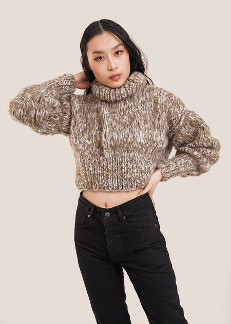Frisson Knits Cropped Classic Sweater - Multi Taupe