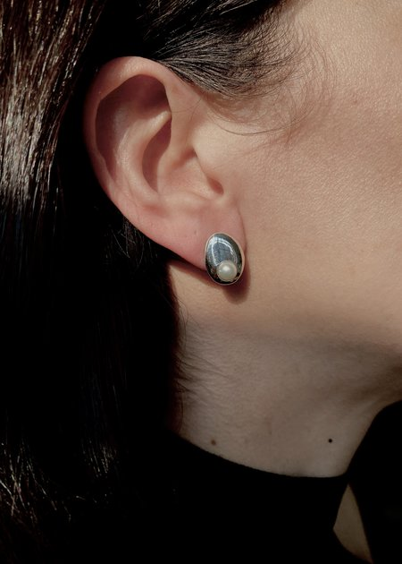 Modern Weaving Hand Formed Oval Stud with Nested Pearl - Sterling Silver