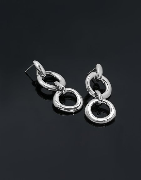 Modern Weaving Double Door Knocker Earrings - Sterling Silver