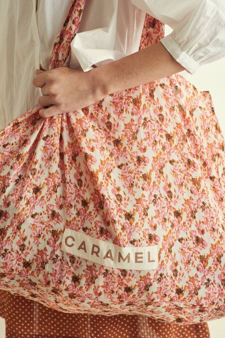 Caramel Shell Tote Bag - Bright Pink Floral