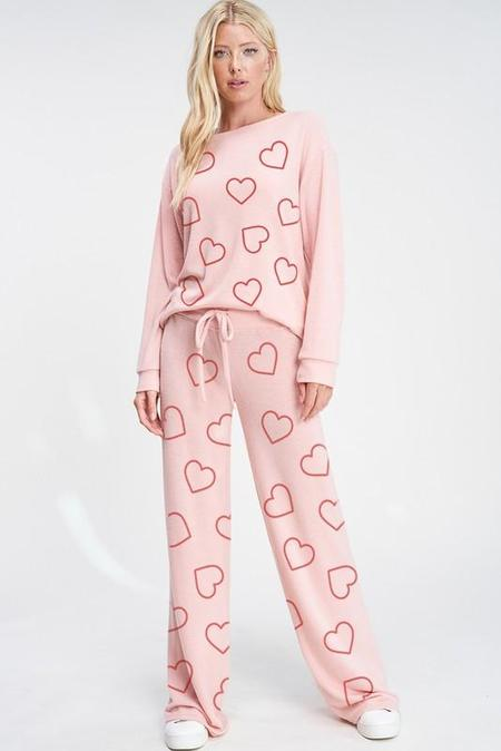 Lola Heart All Over Lounge Set - Pink