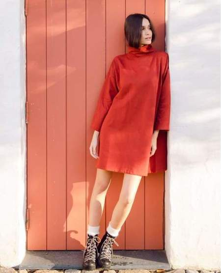 Xena Organic Cotton Dress - Rust