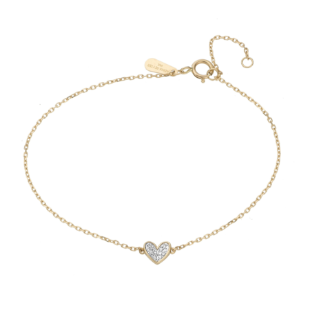 Adina Reyter Super Tiny Pave Folded Heart Bracelet - Gold