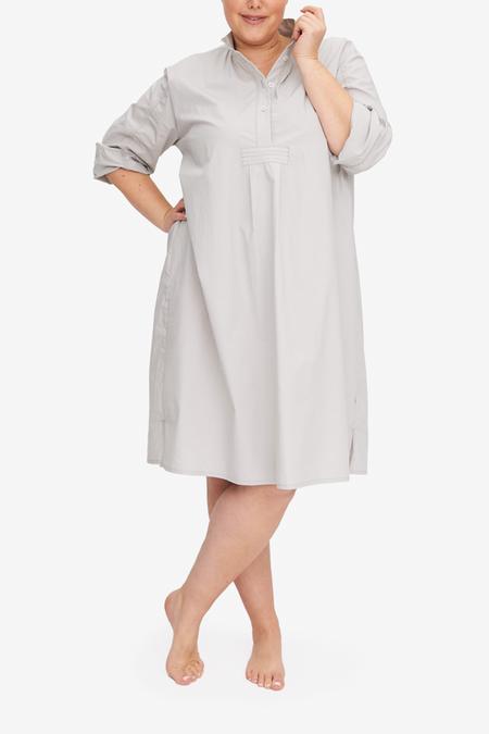 The Sleep Shirt Fog Washed Poplin PLUS Long Sleep Shirt - Gray