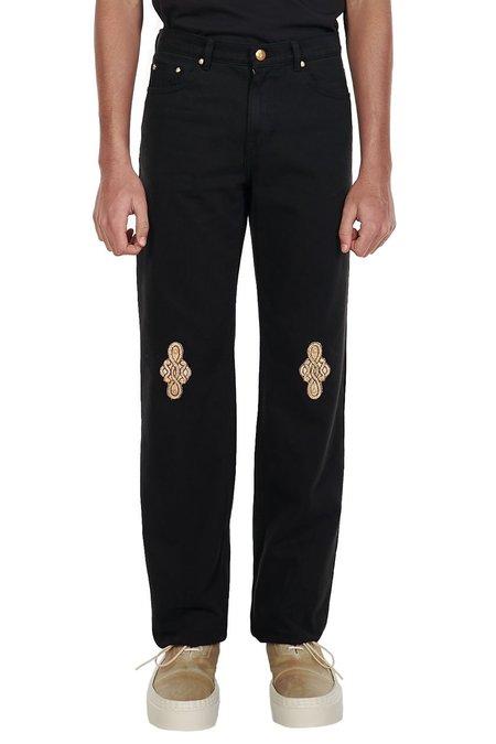we11done Patch Denim Pants - Black