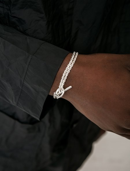 All Blues Rope Double Polished Bracelet - Silver