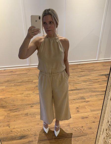 Bella Dahl Fray Neck Wide Leg Jumpsuit - soft khaki