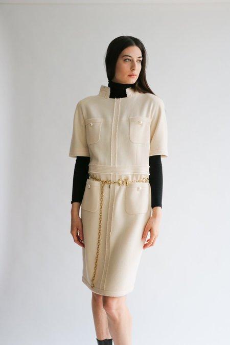 [pre-loved] Chanel Faux Pearl Button Sheath Dress - Cream