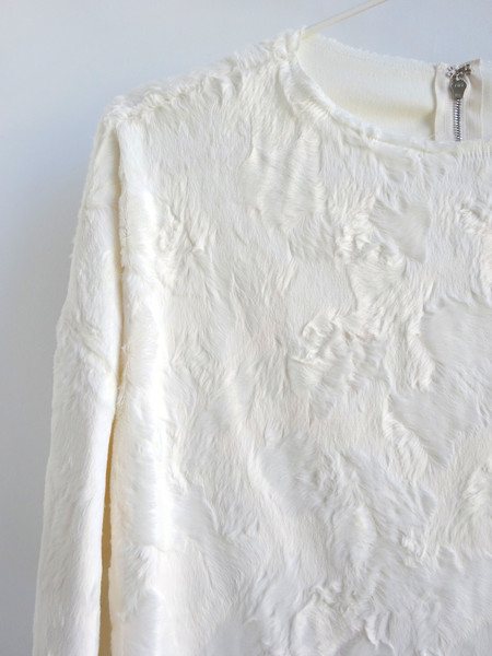 CF. Goldman Oversized Faux Pony Sweater - White