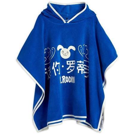 Kids mini rodini MR rabbit terry poncho - blue