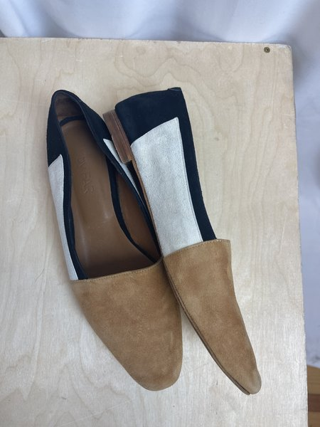 Pre-loved By Far Colorblock Loafer - Tan/white/black