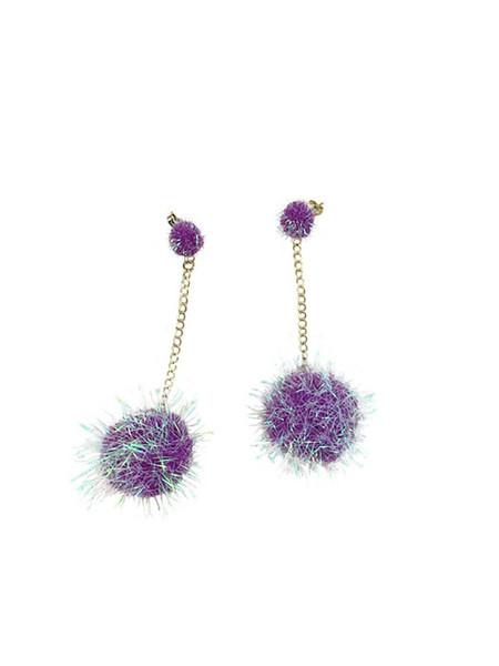 Dady Bones Puff Ball Earrings - Purple