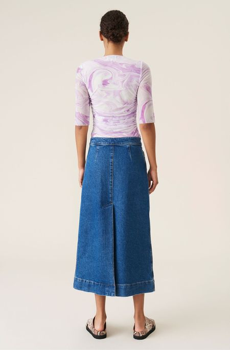 Ganni Comfort Stretch Denim Skirt - Medium Indigo