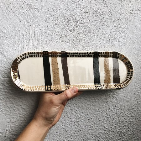 The Object Enthusiast Striped Inlay #1 Tray - 22k gold