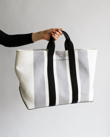 CALVIN KLEIN Striped Tote Bag - Black/White