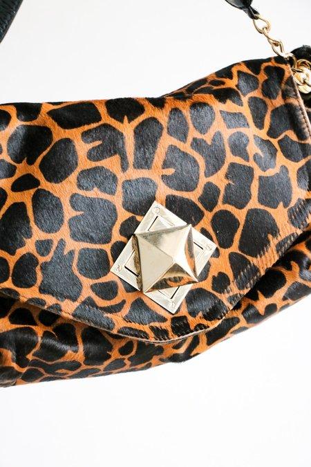 [pre-loved] Sonia Rykiel Animal Print Front Flap Bag - Brown