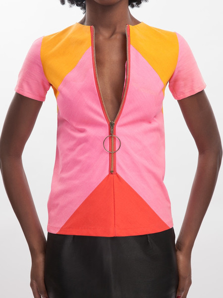 Vintage HOH Curate 70's Mod Top - Bright Pink/Tangerine/Red