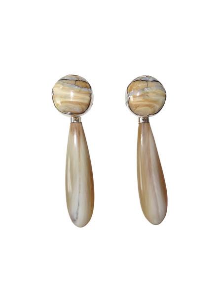 KVK Jewelry Beige Fossilized Woolly Mammoth & Black Diamond Horn Earrings
