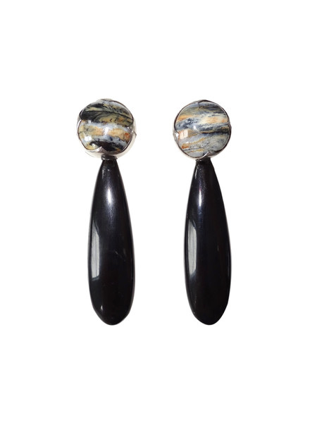 KVK Jewelry Blue Woolly Mammoth Ivory & Black Horn Earrings