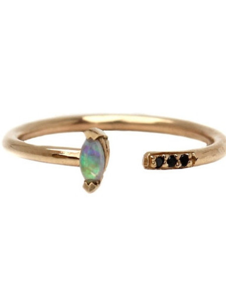 Lumo Jewelry Lumo Opal Marquis Cuff Ring with Pave