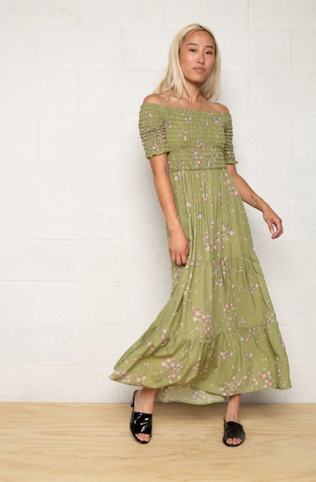 No Less Than Smocked Magdalena Dress - Green