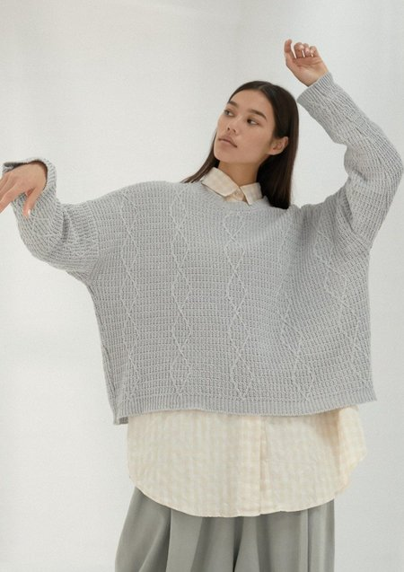 Mónica Cordera Cable Sweater - Pearl Blue